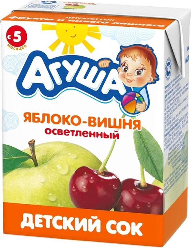 Напитки Агуша Агуша Яблоко и вишня с 5 мес. 200 мл йогурт питьевой агуша засыпай ка зеленое яблоко мелисса 2 7% с 8 мес 200 мл
