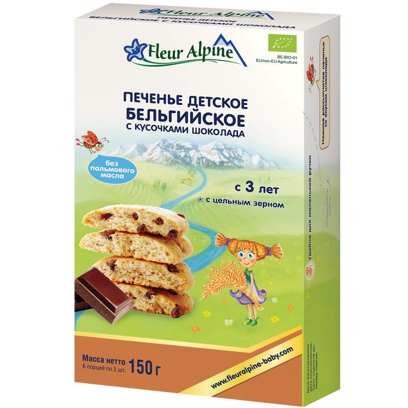 Печенье Fleur Alpine Fleur Alpine «Бельгийское с кусочками шоколада» с 3 лет 150 г частная галерея финское печенье с клюквой и кусочками белого шоколада 150 г