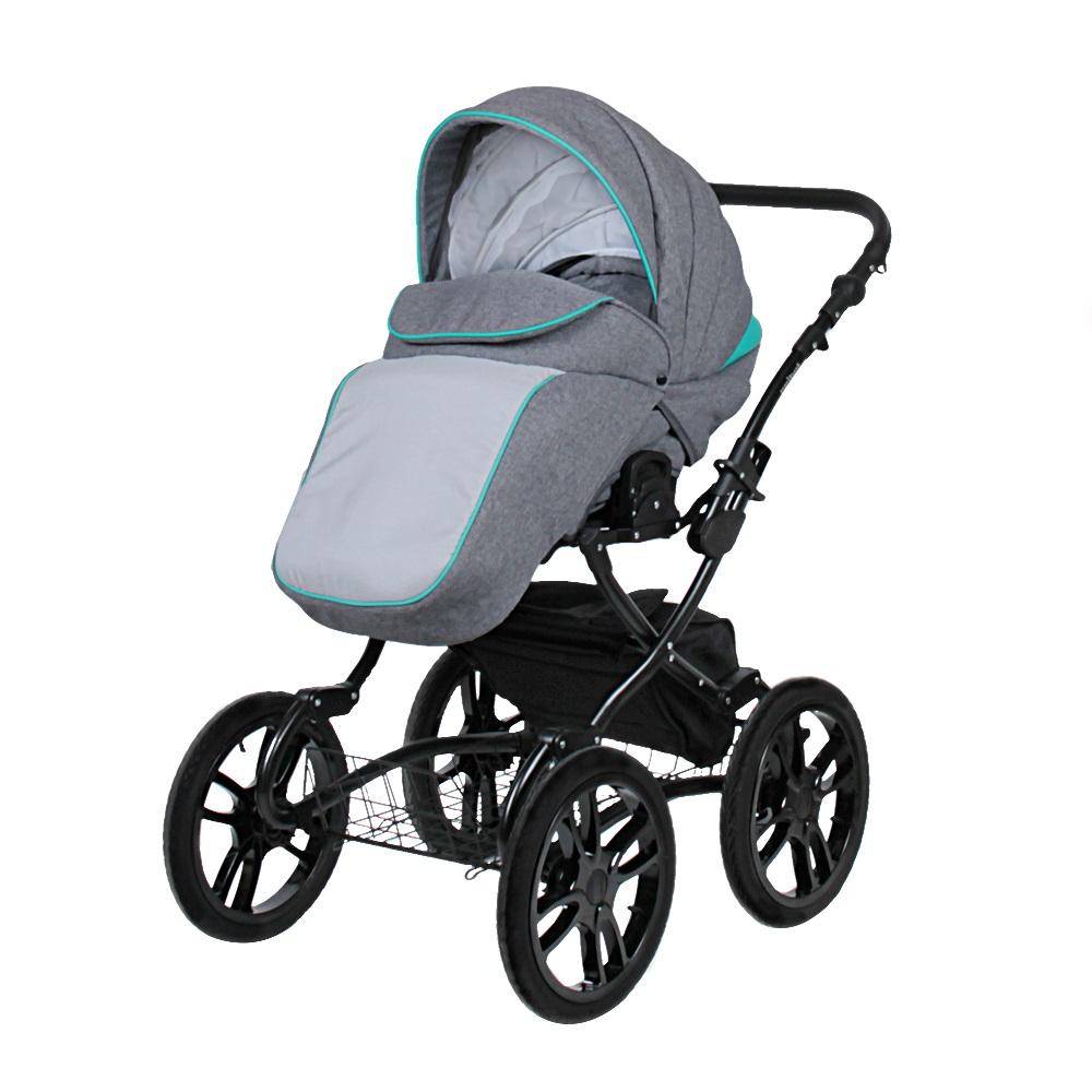 купить Классическая коляска 2 в 1 Indigo Indigo 18 Special Plus серый с бирюзовым по цене 25599 рублей