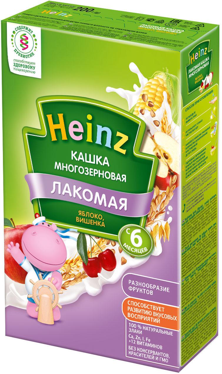 Каша Heinz Heinz Лакомая молочная многозерновая яблоко, вишенка (с 6 месяцев) 200 г heinz каша многозерновая из пяти злаков с 6 месяцев 200 г