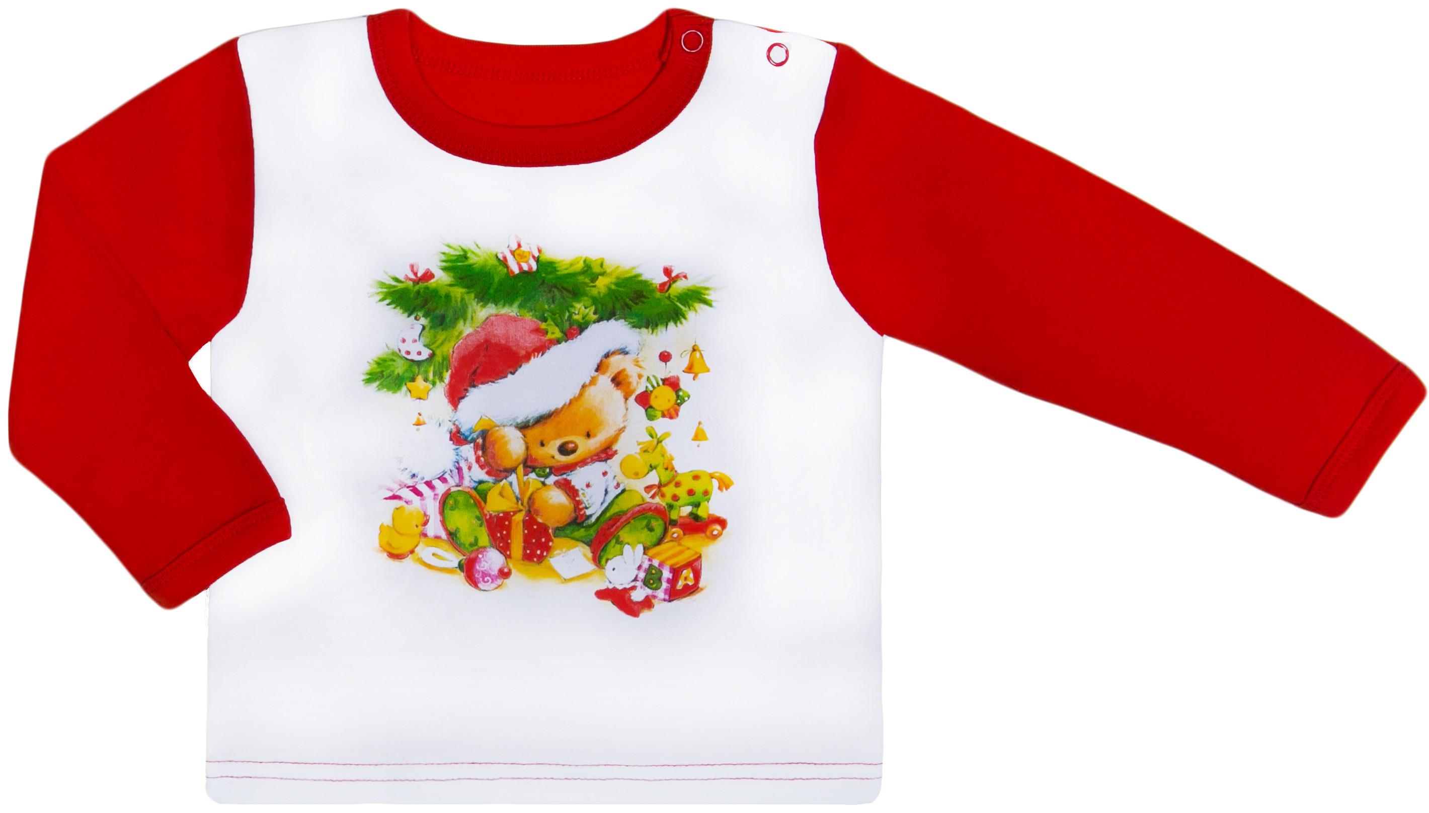 Первые вещи новорожденного Barkito Футболка детская Barkito Новый год с длинным рукавом для мальчика, белая с красной отделкой шапочка детская новый год barkito