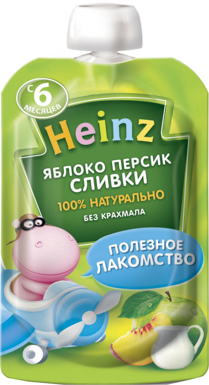 цена на Пюре Heinz Heinz Яблоко, персик, сливки (с 6 месяцев) 90 г
