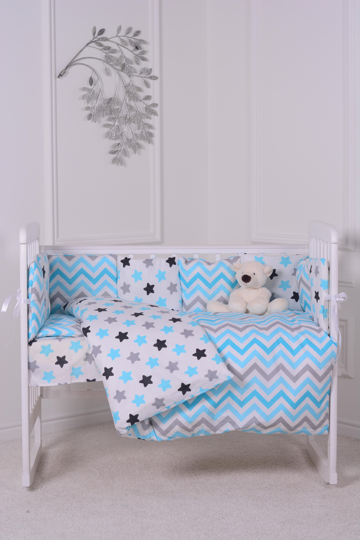 Комплект в кроватку Луняшки Звездное небо 6 предметов, голубой цена