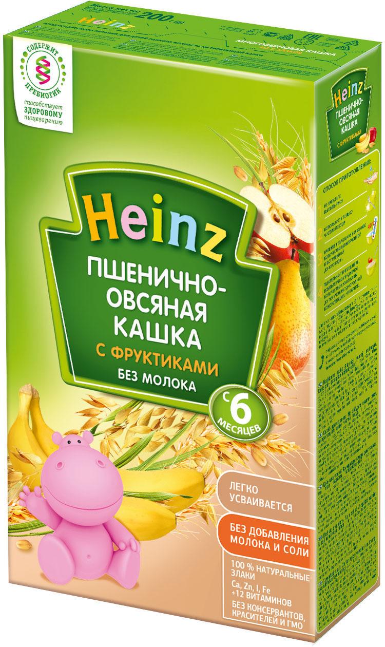 Безмолочные Heinz Heinz Безмолочная пшенично-овсяная с фруктами (с 6 месяцев) 200 г heinz каша heinz пшенично овсяная с фруктами безмолочная 200 гр