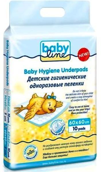 Пеленки BABYLINE детские пятислойные 60х60 см 10 шт. детские одноразовые пеленки babyline пятислойные 60х90 см 5 шт
