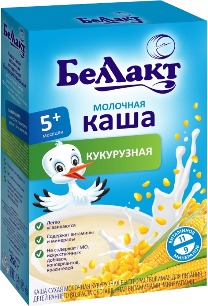Молочные Беллакт молочная кукурузная (с 5 месяцев) 200 г беллакт каша молочная кукурузная 200 г