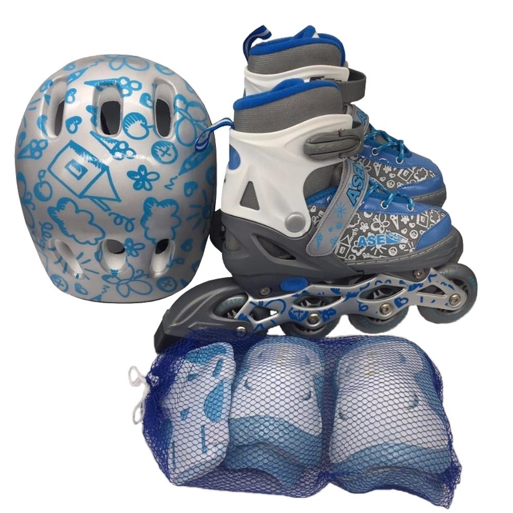 Ролики и скейтборды ASE-SPORT Набор: ролики, защита, шлем Ase-sport «ASE-620 Combo» grey-bleu S (31-34) ролики maxcity ролики spark
