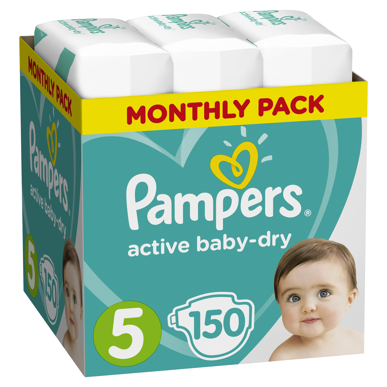 все цены на Подгузники Pampers Подгузники Pampers Active Baby-Dry 5 (11-18 кг) 150 шт.