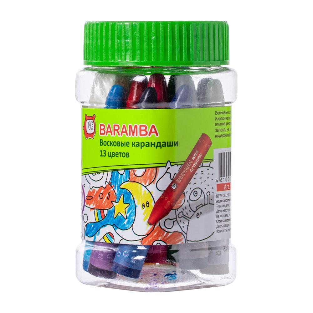 Восковые карандаши Baramba Треугольные в картонной коробке 13шт + вкладыш-раскраска ручки и карандаши baramba треугольные в картонной коробке 13шт вкладыш раскраска