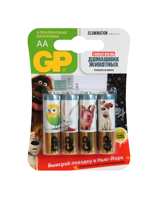 Элементы питания GP Тайная жизнь домашних животных АА 4 шт батарейка gp миньоны 15a4 1min 2cr5 5 шт в блистере gp 15a4 1min 2cr5 50 400