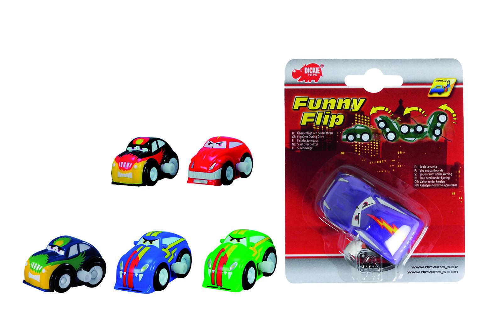 Машинки и мотоциклы DICKIE Забавные машинки с заводным механизмом автовоз dickie toys city 28 см 3 машинки цвет в ассортименте