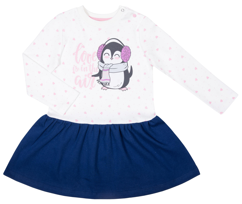 Платье детское Barkito Северный полюс, цвет белый с темно-синей отделкой толстовки barkito дикие звери 2 серый с синей отделкой