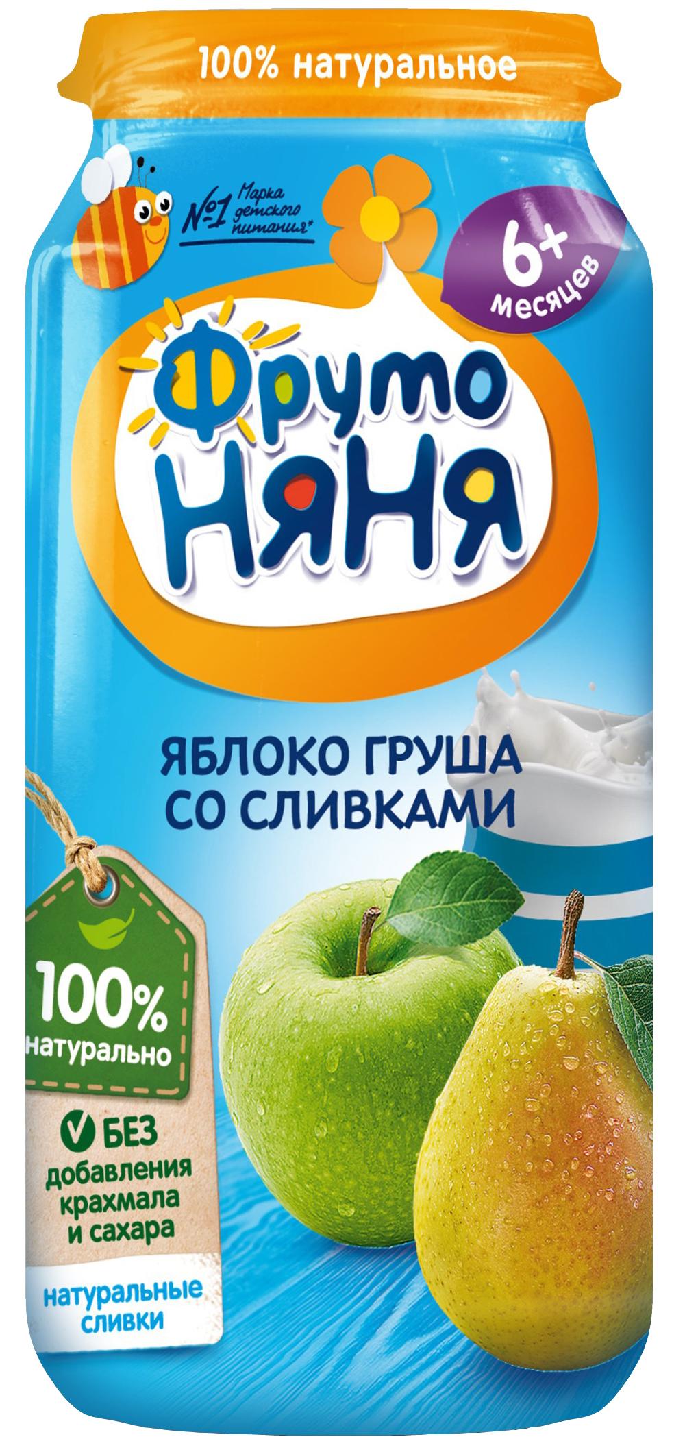 Пюре Прогресс ФрутоНяня Из яблок и груш со сливками (с 6 месяцев) 250 г