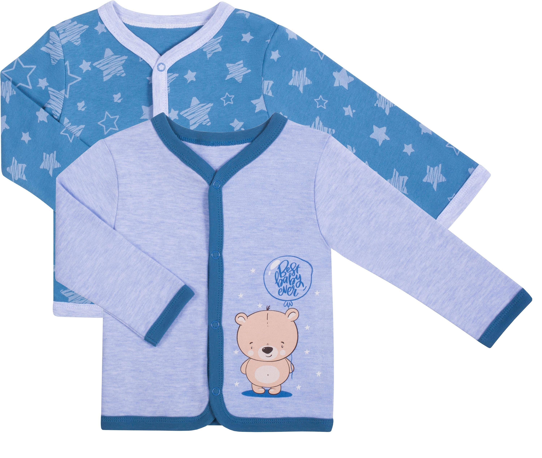 Кофточка детская Be2Me Голубая меланж и синяя с рисунком звезды