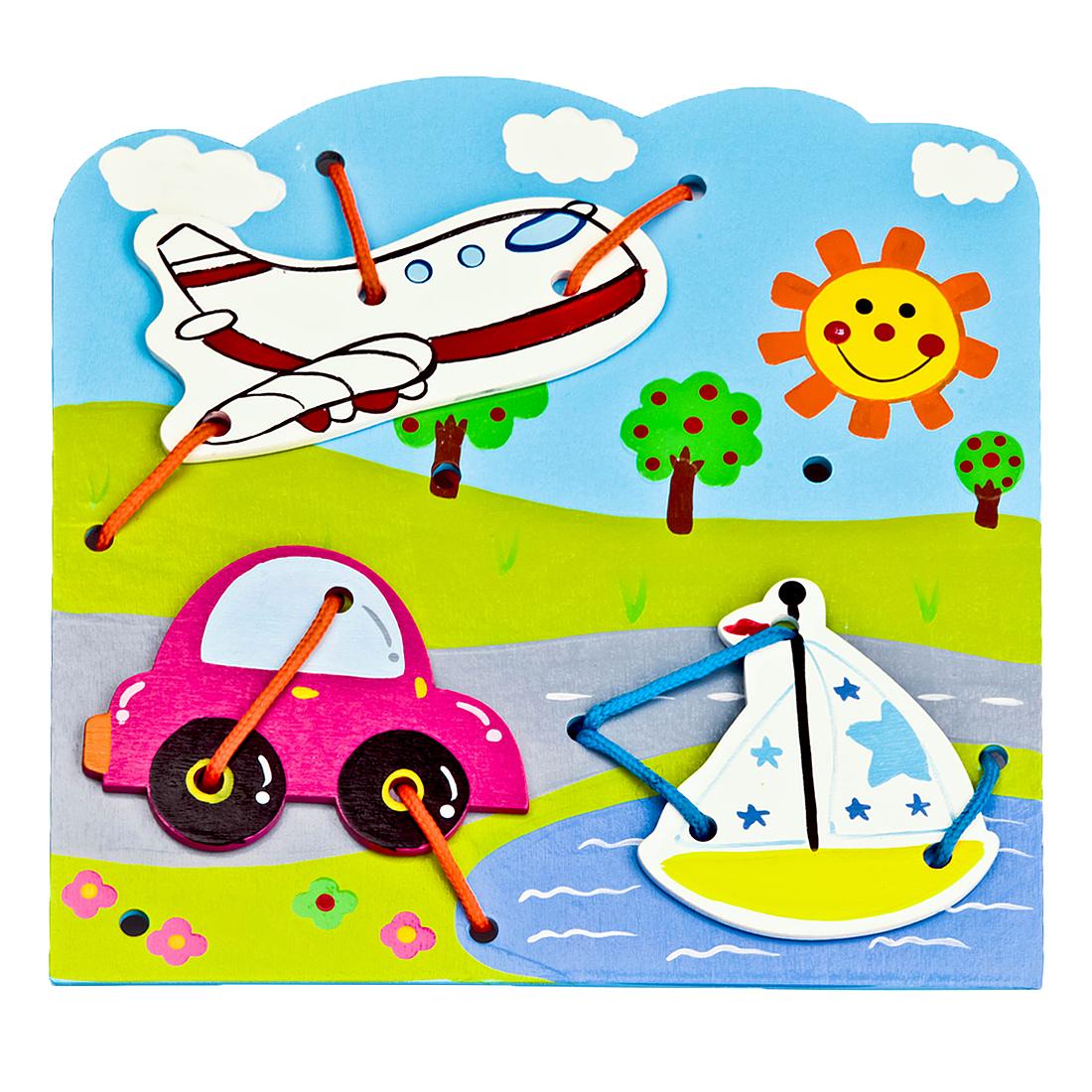 цены на Деревянные игрушки Mapacha Шнуровка Mapacha «Транспорт»  в интернет-магазинах