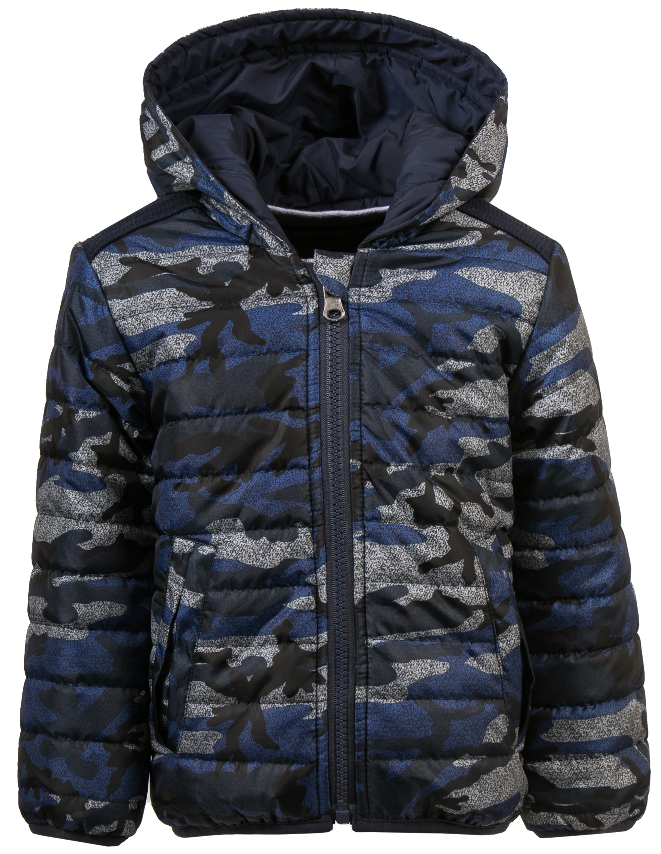 куртка для мальчика двухсторонняя Barkito синий с рисунком милитари, серый