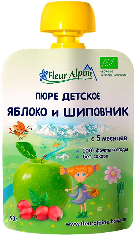 Пюре Fleur Alpine Fleur Alpine Яблоко и шиповник (с 5 месяцев) 90 г пюре gerber organic тыква и сладкий картофель с 5 мес 125 г