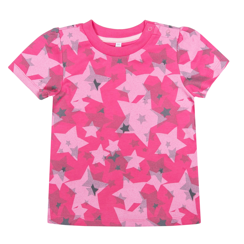 "Футболки Barkito Футболка с коротким рукавом для девочки Barkito ""Сказочный лес 1"", фуксия с рисунком ""звезды"" футболка с длинным рукавом для девочки barkito сказочный лес 1 розовая"