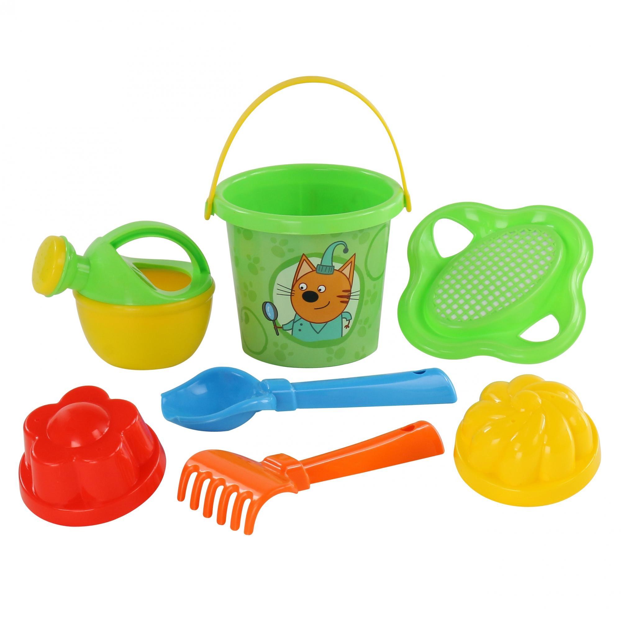 песочный набор grand toys gt8264 ведро совок грабельки ситечко формочка маша формочка медведь Набор для игры с песком POLESIE Три кота, 7 предметов