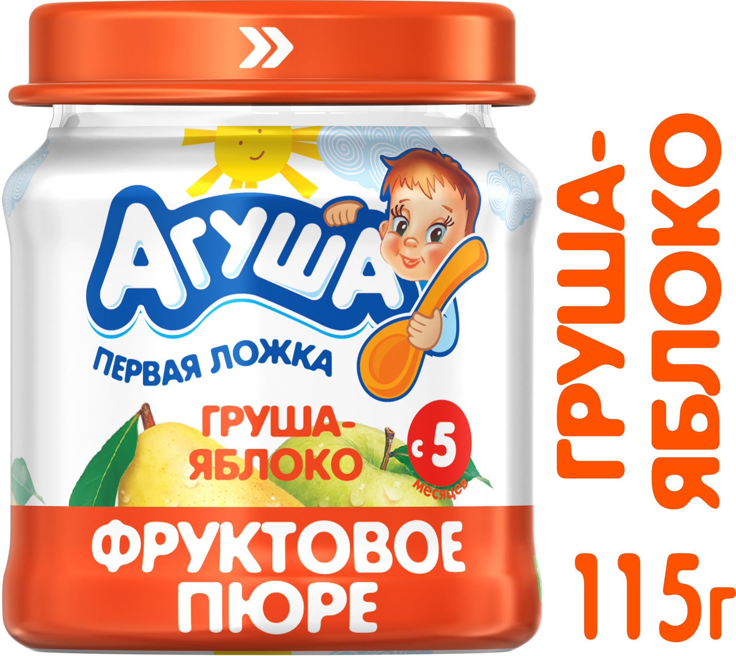 Фруктовое Агуша Агуша Груша-яблоко (с 5 месяцев) 115 г пюре агуша яблоко груша с 5 мес 200 гр