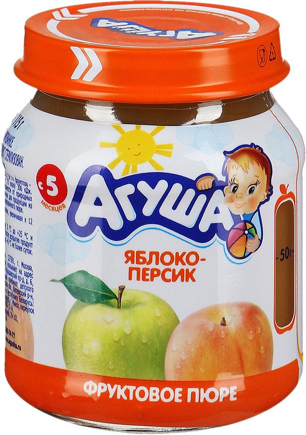 Купить Фруктовое, Агуша Яблоко-персик (с 5 месяцев) 115 г, Россия