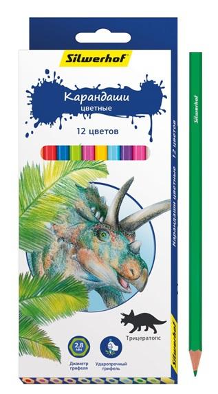Карандаши Silwerhof Цветные «Динозавры» 12 цветов ручки и карандаши silwerhof карандаши цветные silwerhof 12 цв