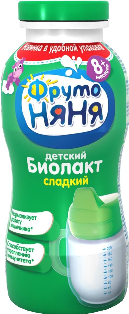 Биолакт Фрутоняня ФрутоНяня с сахаром 3,2% с 8 мес. 200 мл молочно овсяная с бананом с пребиотиками жидкая с 6 мес 200 мл