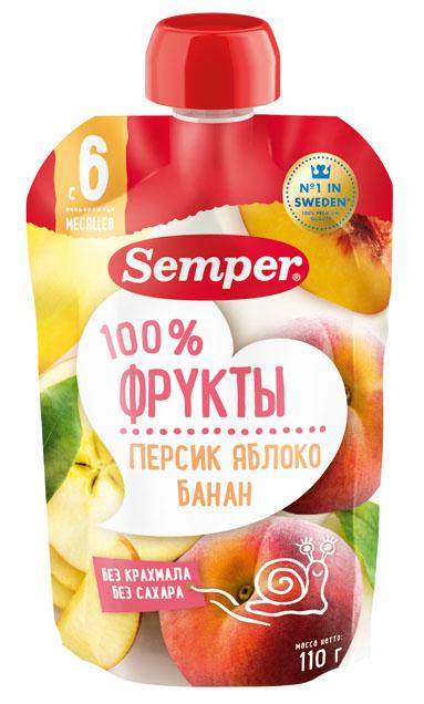 Пюре Semper Персик, яблоко, банан с 6 мес. 110 г (пауч)