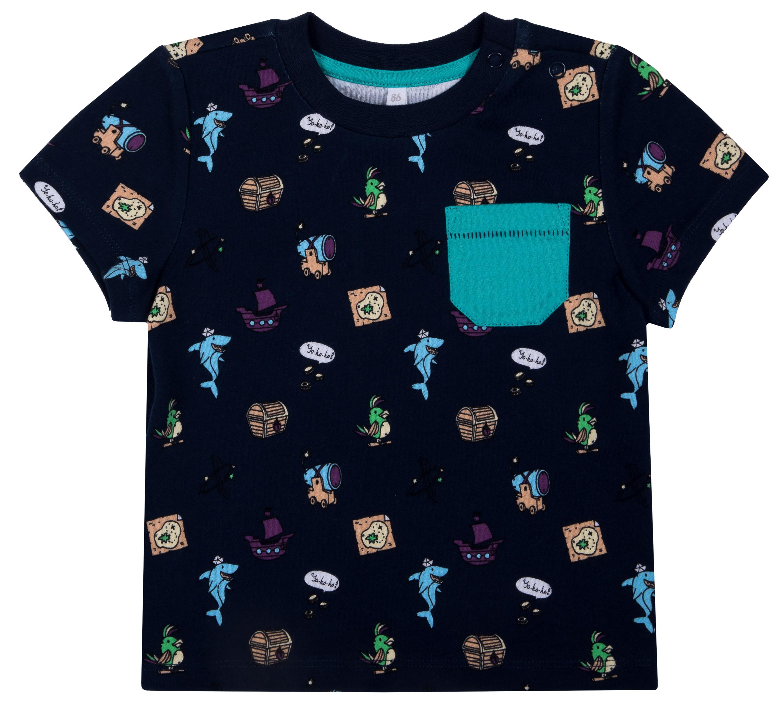 Купить Джемпер, с коротким рукавом для мальчика «Морские Пираты», Barkito, Узбекистан, темно-синий с рисунком, 100% хлопок, Мужской