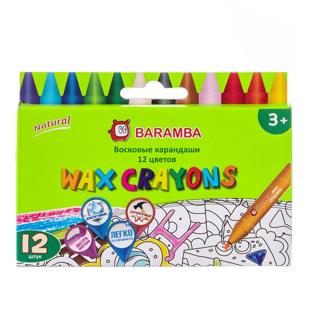 Ручки и карандаши Baramba Восковые с раскраской 12 цветов ручки и карандаши baramba треугольные в картонной коробке 13шт вкладыш раскраска
