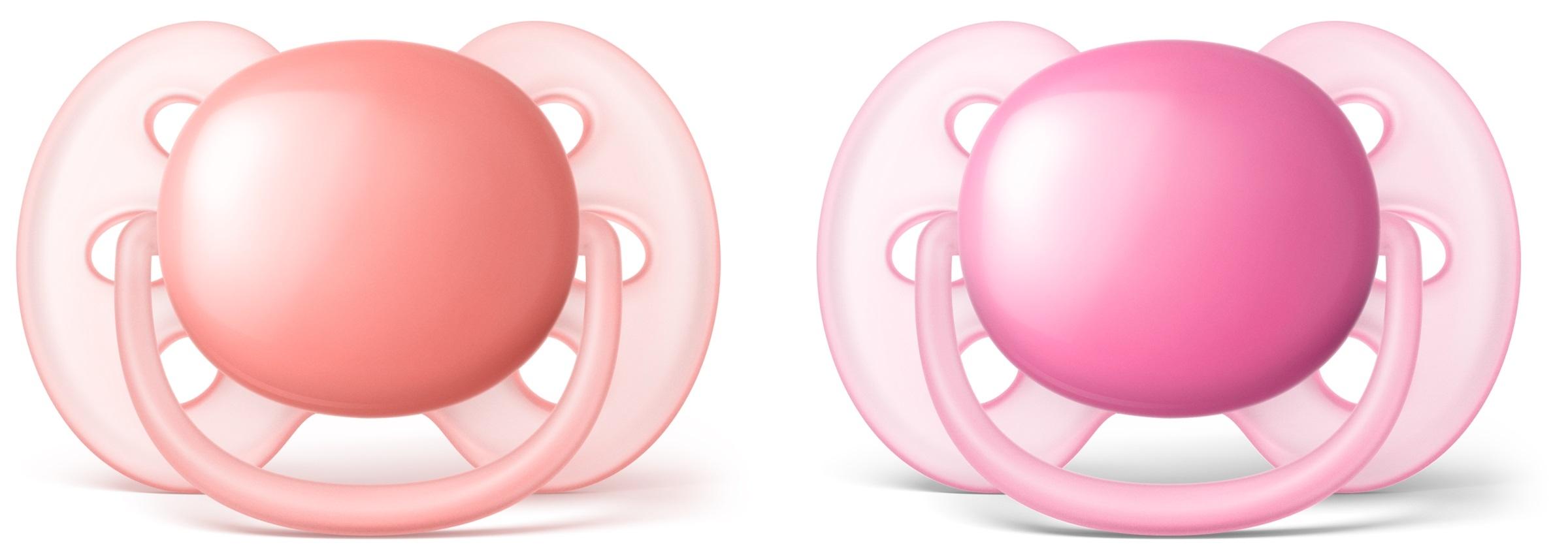 Пустышки Philips AVENT Пустышка Philips Avent Ultra soft силиконовая для девочек с 6 мес. 2 шт. philips avent philips avent термометр для ванны и помещений цифровой