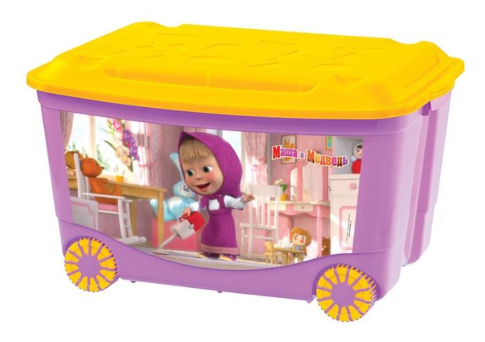 все цены на Ящики и корзины для игрушек Пластишка Ящик для игрушек Пластишка «Маша и Медведь» на колесах 50 л в асс.
