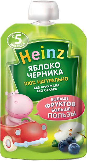 Фруктовое Heinz Heinz Яблоко, черника (с 5 месяцев) 100 г флёр альпин органик пюре яблоко черника 5 мес 90 г