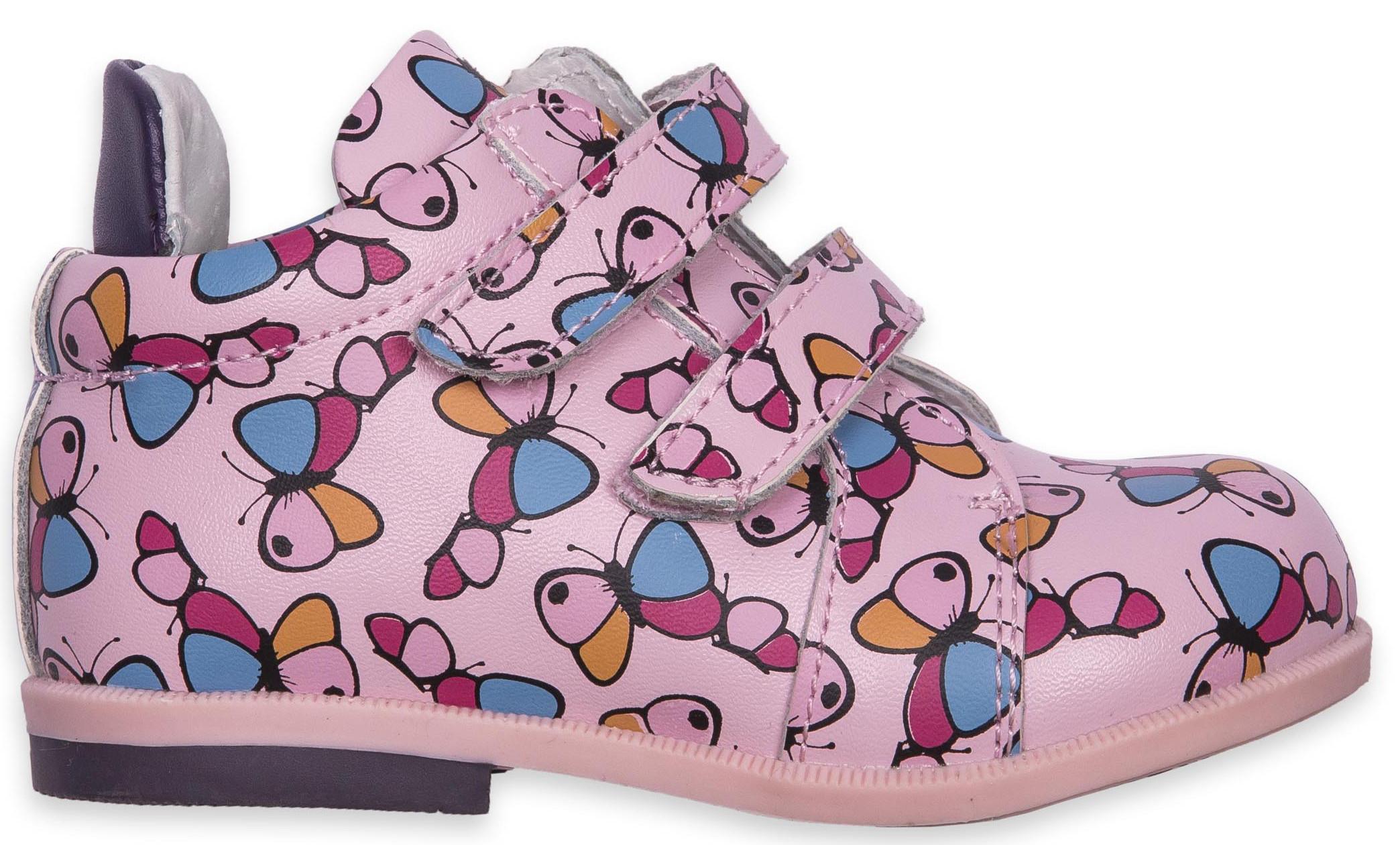 Ботинки и полуботинки Barkito Ботинки для девочки Barkito, розовые с рисунком бабочки