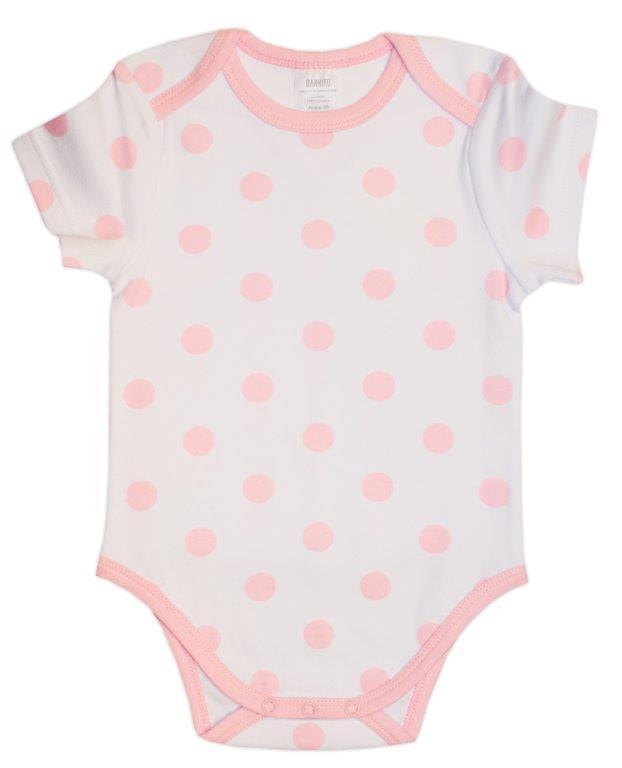 Первые вещи новорожденного Barkito Весенняя короткий рукав белый в горошек 2 шт.