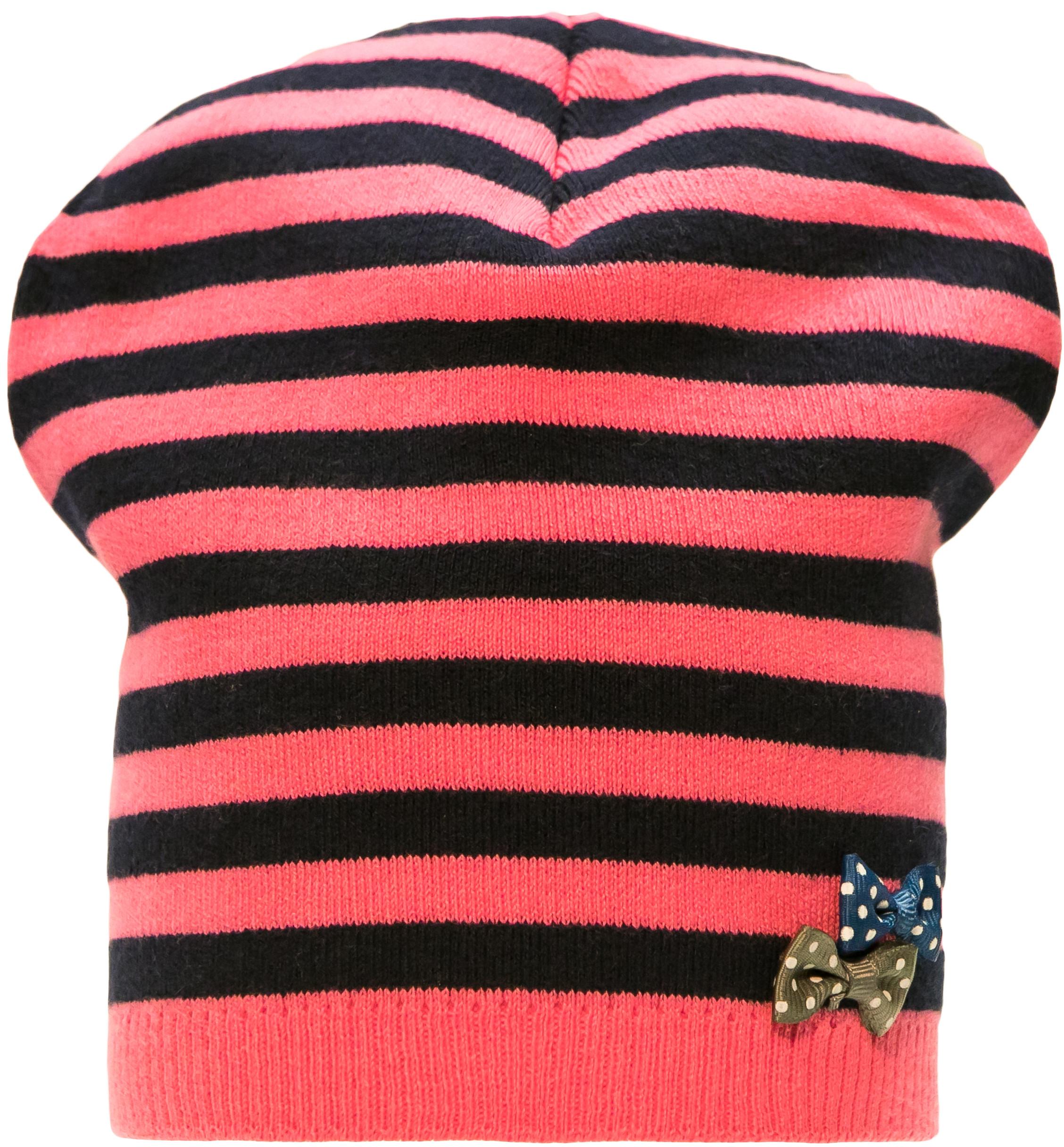 Купить Головные уборы, Шапка для девочки Barkito, розовый с рисунком в полоску, Россия, Женский
