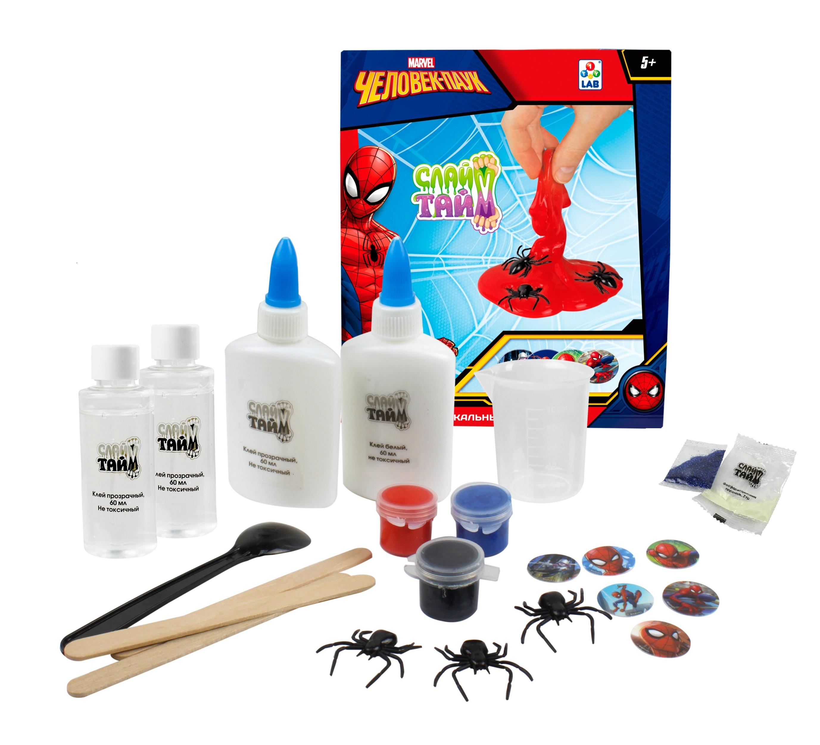 Набор для изготовления слайм 1toy Слайм Тайм. Человек паук набор для изготовления слайма 1toy слайм тайм человек паук т14293 красный