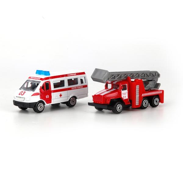 Технопарк Скорая и пожарная машины машины технопарк набор пожарная часть 92090f r