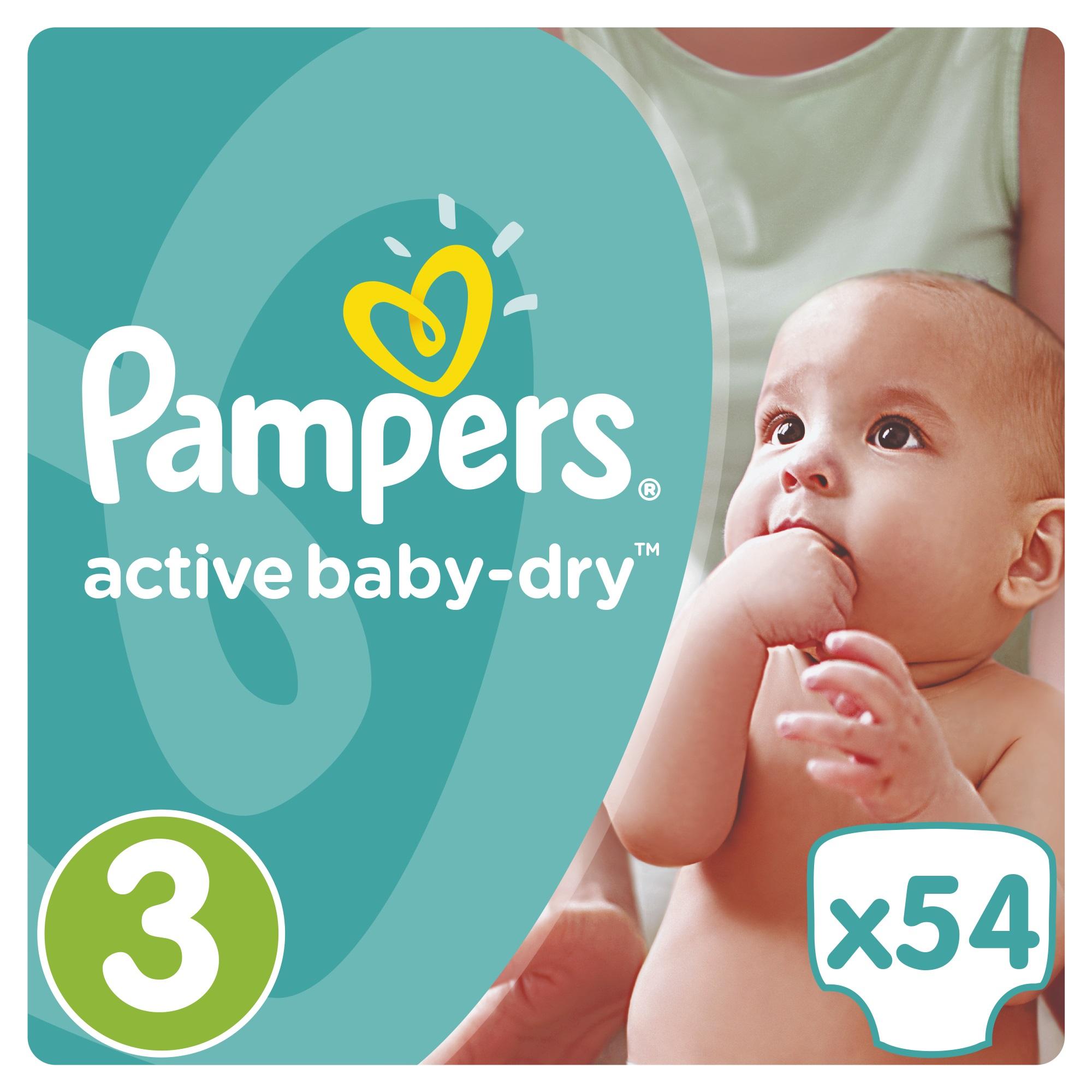 Подгузники Pampers Active Baby-Dry 3 (5-9кг) 54 шт. подгузники детские pampers подгузники pampers active baby dry 8 14 кг 4 размер 106 шт