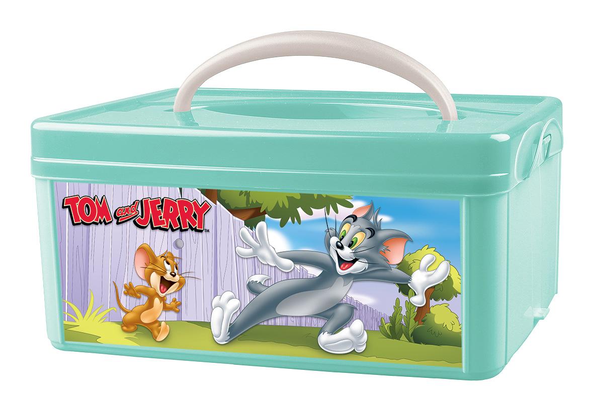 Ящик для игрушек TOM&JERRY С ручкой зеленый, 3 л