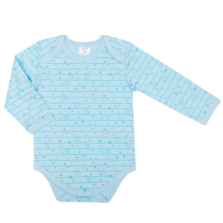 Первые вещи новорожденного Barkito Боди с длинным рукавом для мальчика Barkito Звёздочки, голубое боди и песочники little me боди с длинным рукавом
