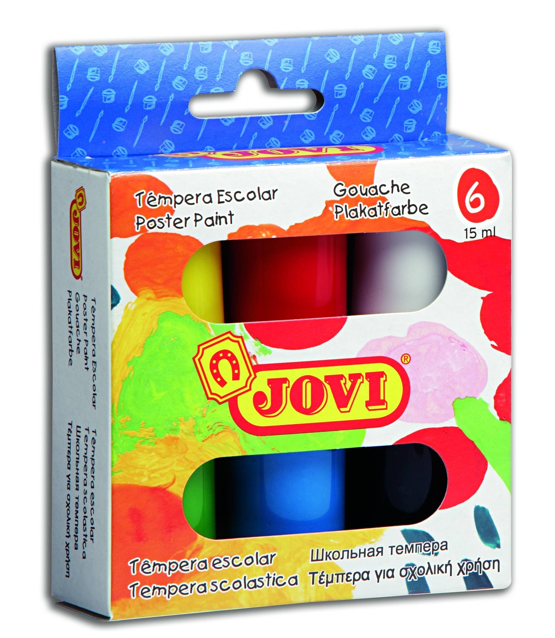 Краски Jovi 6 цветов 15 мл в картонной упаковке гуашь олки перламутр 6 цветов 20 мл