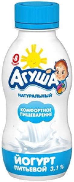 Молочная продукция Агуша Йогурт питьевой Агуша Натуральный 3,1% с 8 мес. 200 мл ряженка агуша 3 2% с 12 мес 200 г