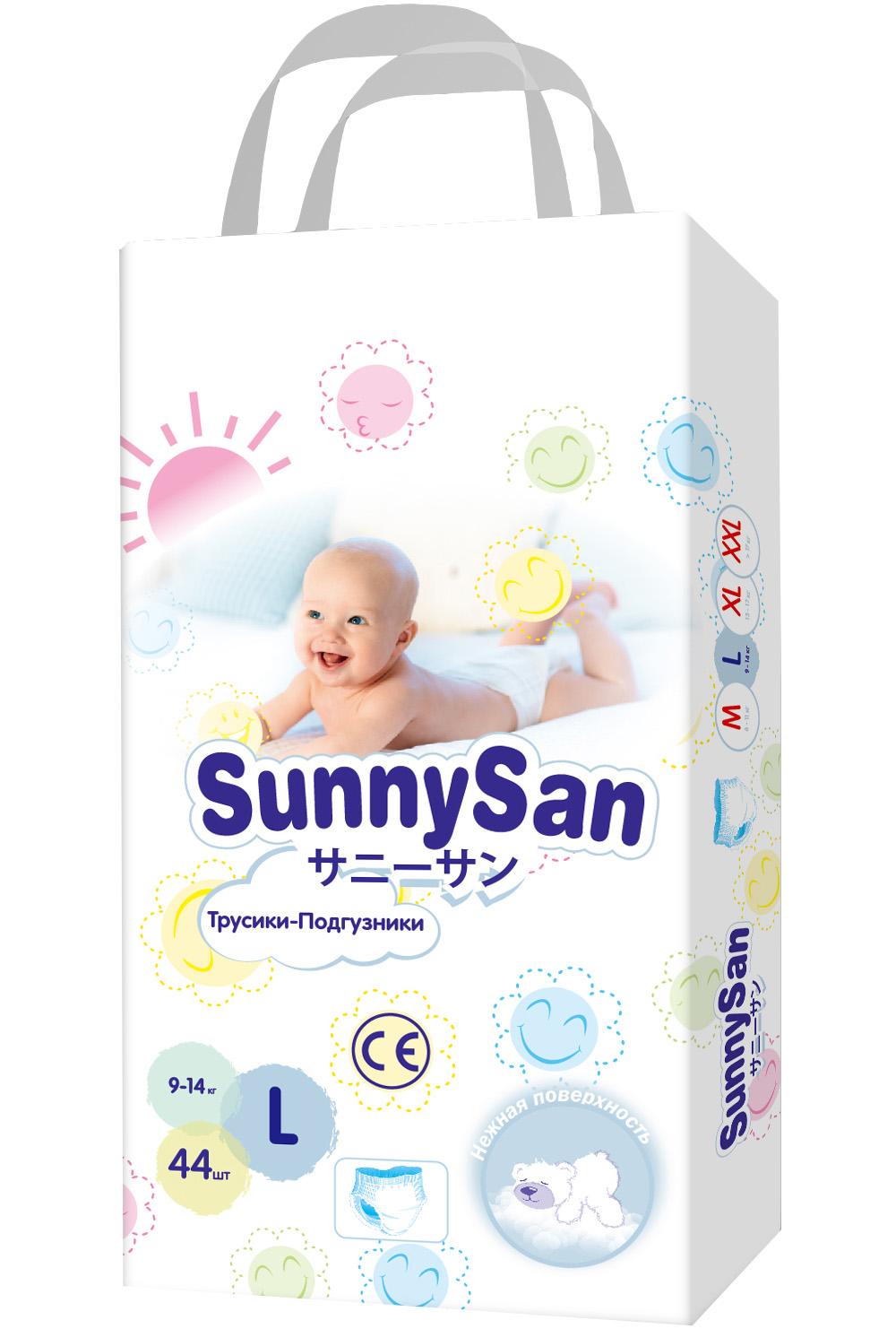 Трусики-подгузники SunnySan L (9-14 кг) 44 шт. трусики подгузники merries l 9 14 кг 44 шт