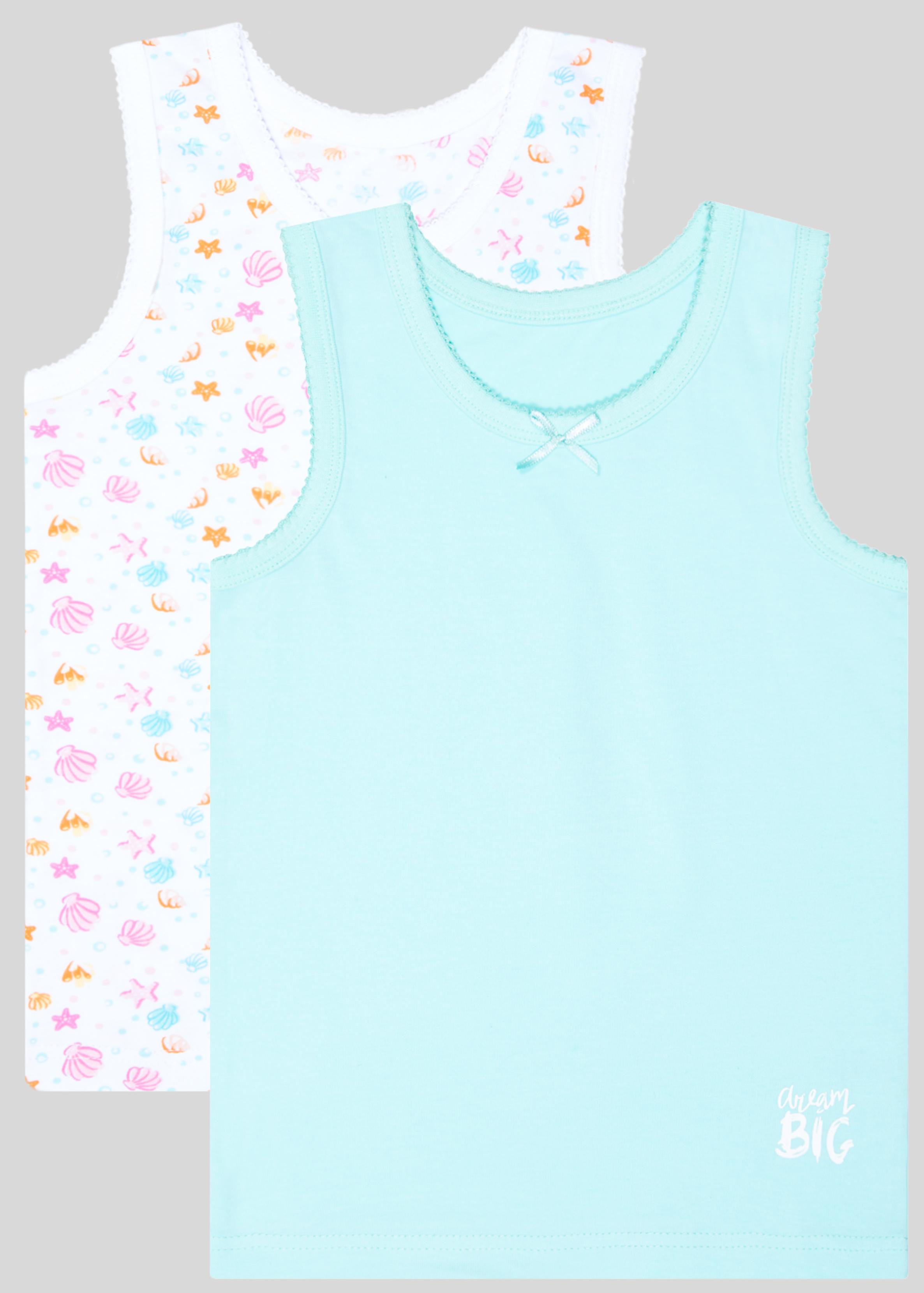 Майка для девочки Barkito 2 шт., цвет белый с морским рисунком/мятный