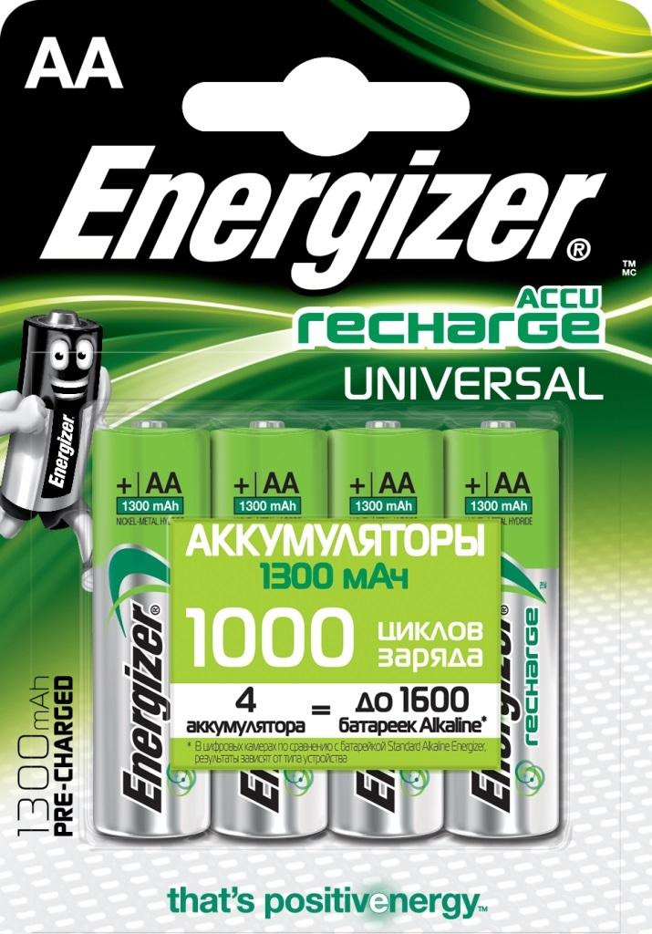 Элементы питания Energizer Аккумуляторные батарейки Energizer Accu Rechrge Universal AA Pre-Ch 4 шт. аккумуляторы 1300 mah energizer universal aa 4 шт 638590 e300322101