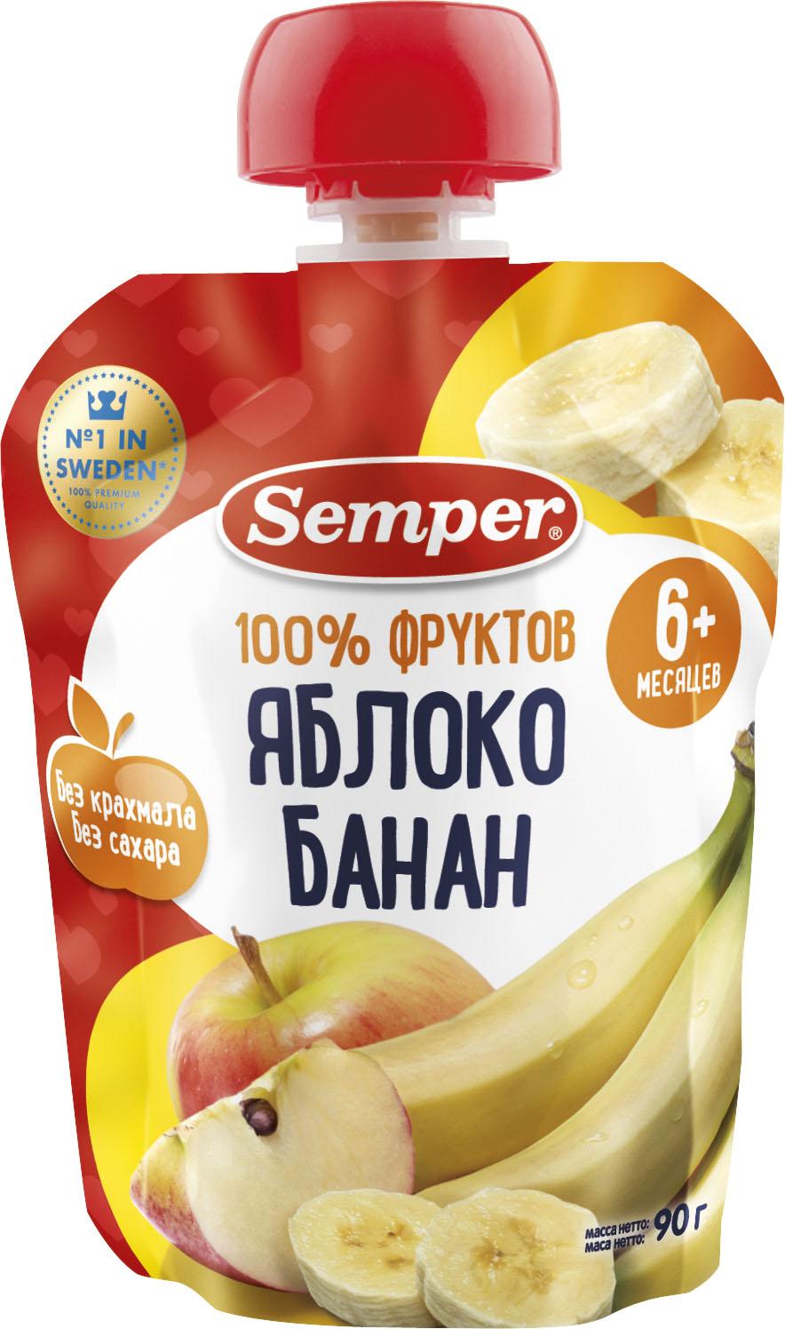 Пюре Semper Пюре Semper Яблоко и банан с 6 мес. 90 г (пауч) яблоко банан с 6 мес 90 гр
