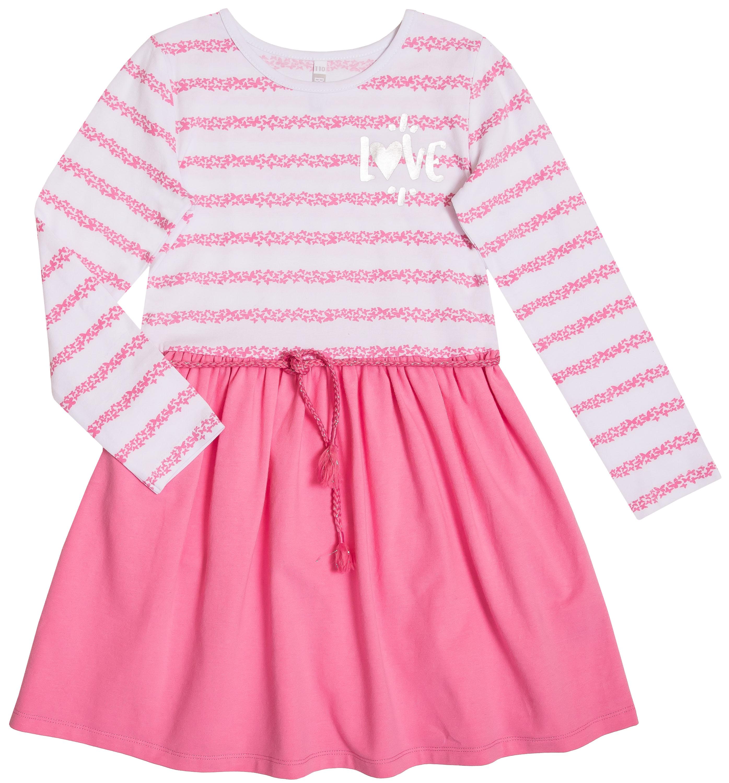 Купить Платье детское, Весенние бабочки, белое с розовым, Barkito, Узбекистан, белый в полоску и розовый, 95% хлопок, 5% эластан, Женский