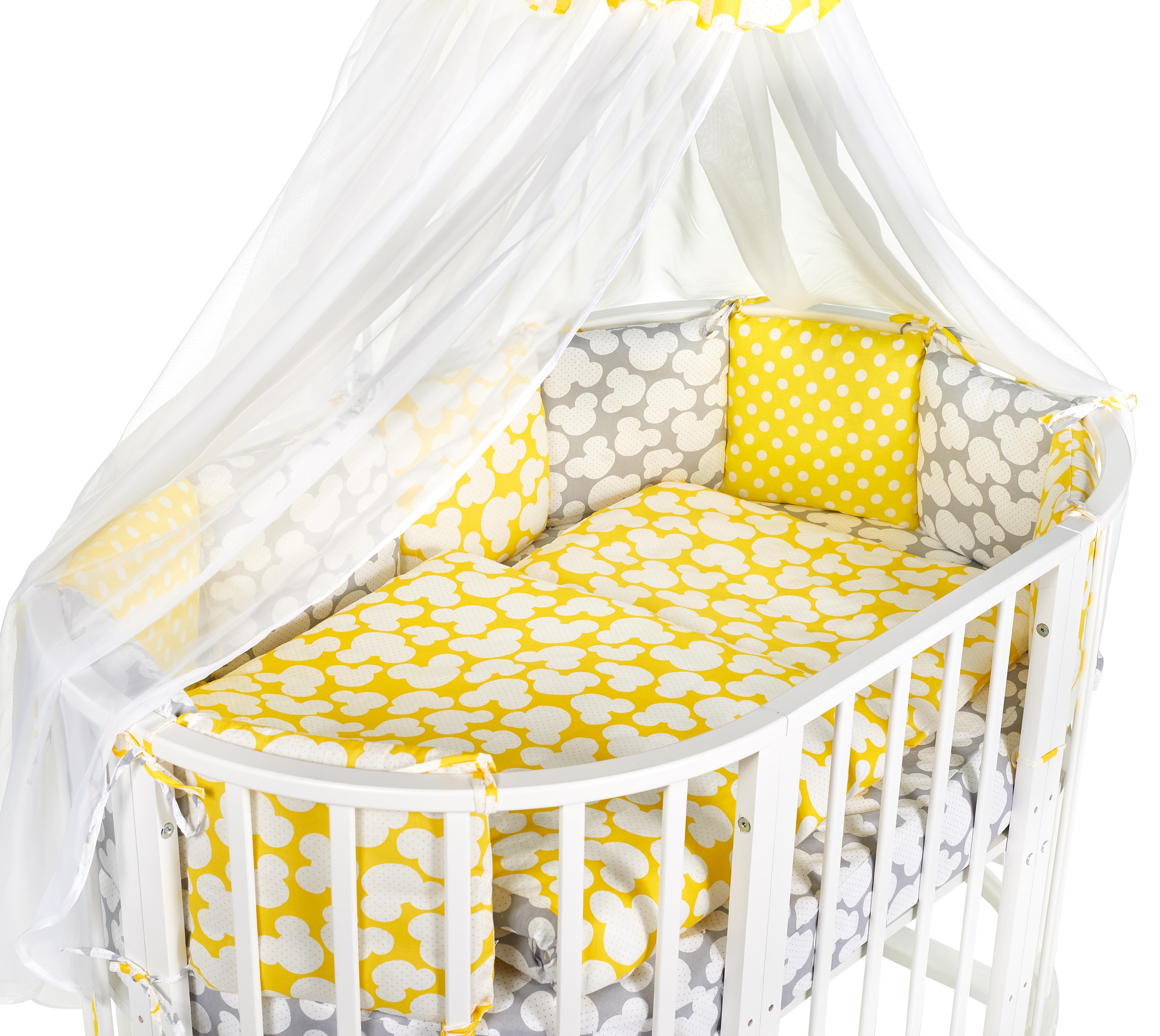 Постельные принадлежности Sweet Baby Комплект в овальную кроватку Sweet Baby «Tenero Giallo» 8 пр. желтый/серый
