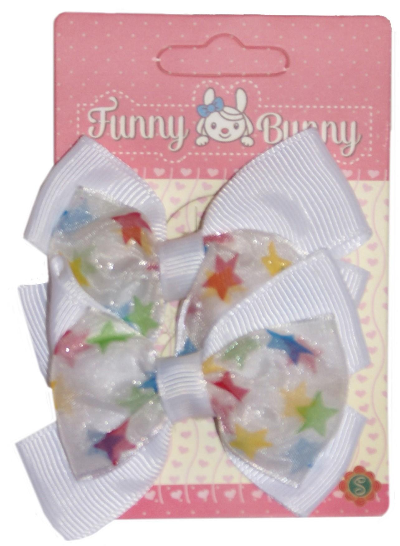 Зажим для волос Funny Bunny текстильный средний 2 шт. невидимка для волос funny bunny розовые цветы 2 шт